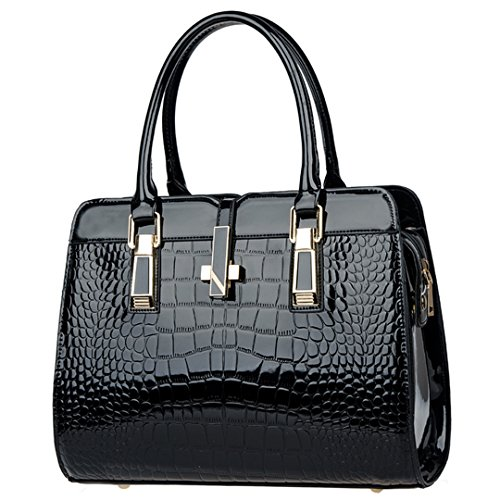 Women Patent Leather Alligator Stripe Handbag Shoulder Bag Cross Body Bag(Black) by Mily