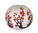 (Price/10 pcs)Red Cherry Flowers White Color Chinese / Japanese Paper Lanterns, 16'' Diameter