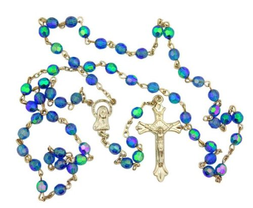 Light Blue Aurora Borealis style Glass 6MM Bead Rosary w Virgin Mary (Rosary 6mm Glass Bead)