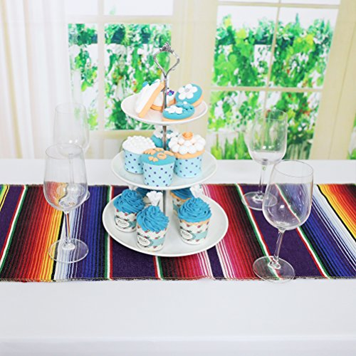 Koyal Pack of 6 14 x 84 inch Mexican Serape Table Runner for Mexican Party Wedding Decorations Fringe Cotton Table Runner by Koyal (Image #3)