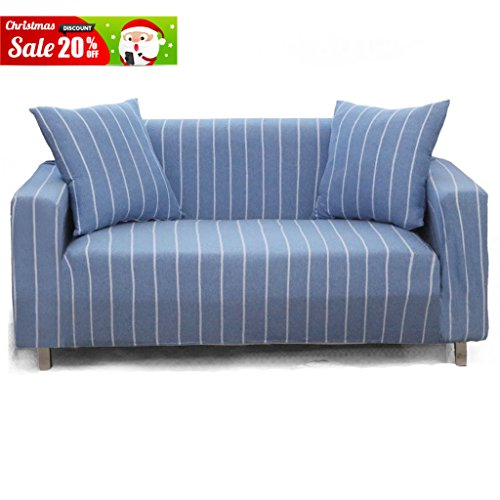 Uozzi Cotton Stretch Sofa Slipcover(With 2 Blue pillow cases as a gift), 1-Piece striped Stretch Furniture Sofa Protector Cover for 75