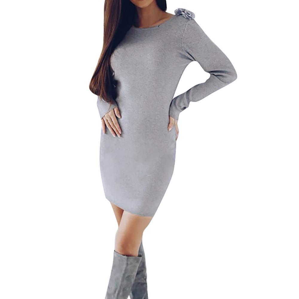 Lenfesh Otoño Invierno Vestidos Manga Larga Vestido de Mujeres de Fiesta Ajustado Slim Vestido Corto de Fiesta Noche: Amazon.es: Ropa y accesorios