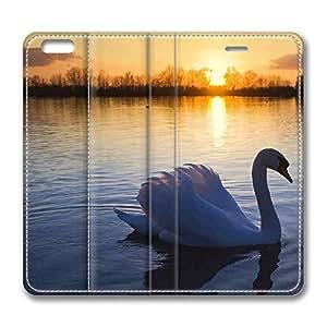 Brain114 6 Plus, iPhone 6 Plus Case, iPhone 6 Plus 5.5 Case, Mute Swan PU Leather Flip Protective Skin Case for Apple iPhone 6 Plus 5.5