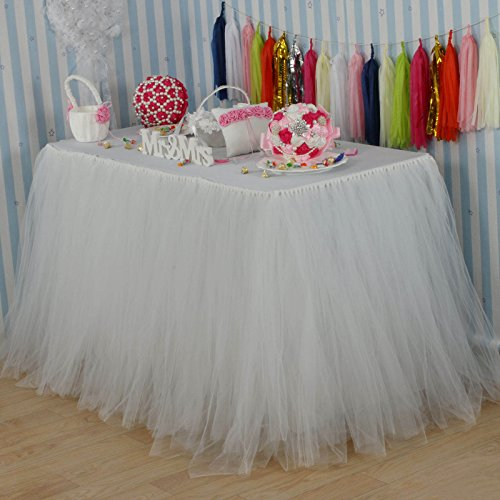 vLovelife 100cm Ivory Tulle Tutu Table Skirt Tableware TableCloth Party Baby Shower Birthday Wedding Decorations Favor Customized Size Available ()