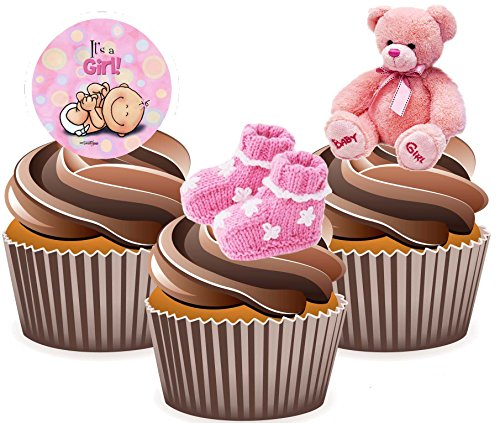 AKGifts Pink Baby Girl Cake Decorations - Edible Stand-up Cup Cake Toppers (Pack of 12) (7 - 10 BUSINESS DAYS DELIVERY FROM UK) (Edible Delivery Gifts)