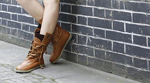 34 Taille 5 Jaune Chaussures Appartements D'hiver La Cuir Bottines 5 À Bottes En Mode Martin Pour Neige De 41 Plus Moto Femmes R64waa