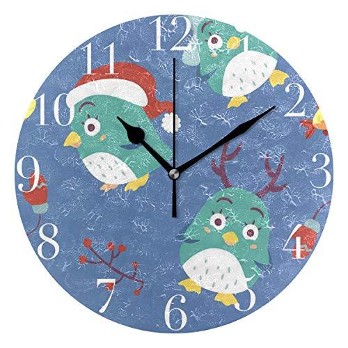 NMCEO Round Wall Clock Christmas Penguins Blue Acrylic Original Clock for Home Decor Creative