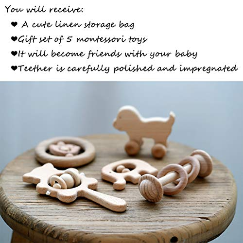 Wooden Baby Rattles Montessori Toys Skwish Wood Teether Organic Beech Teething Ring Nursing New Baby Gift of 5pc Set by Promise Babe (Image #4)