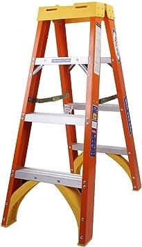 Escalera plegable Escalera de tijera de fibra de vidrio, 3 escalones, escalera plegable compacta de servicio pesado con plataforma, interior al aire libre, naranja, 150 kg: Amazon.es: Bricolaje y herramientas