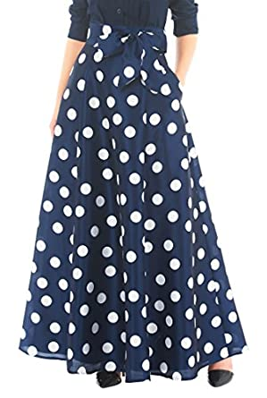 1960s Inspired Fashion: Recreate the Look eShakti Womens Polka dot print dupioni maxi skirt $64.95 AT vintagedancer.com
