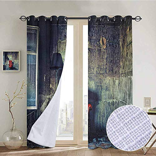 NUOMANAN Curtains for Bedroom Antique,Old Armchair Floor Lamp in Grunge Interior Damaged Messy Abandoned House,Pale Green Red Black,Darkening and Thermal Insulating Draperies 54