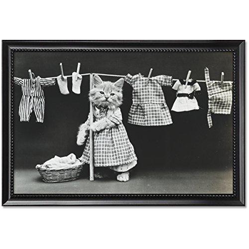 (ClassicPix Black Wood Framed Print 11x17: Hanging Up The Wash, 1914)