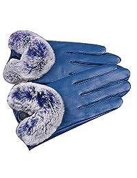 Ms Warm Genuine Leather Gloves Plus Velvet Touch Screen Sheepskin Rex Burr,5