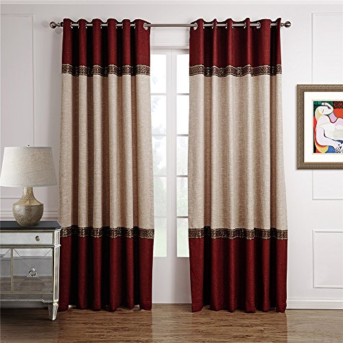 (Dreaming Casa Color Block Two Tone Curtains Light Reducing Drapery Blackout 1 Panel Grommet Top Solid Polyester Window Treatment Beige&Burgundy 72