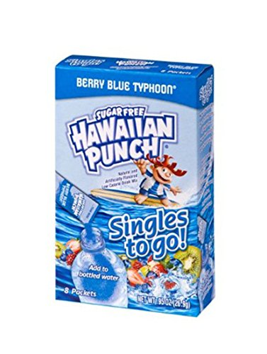 Hawaiian Punch Singles To Go Powder Sticks, Water Drink Mix, Berry Blue Typhoon, 8 Count, Pack of 12