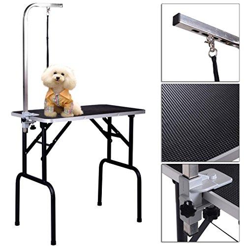 Pet Dog Cat Grooming Table Top Foam Adjustable Table W/Arm&Noose Rubber Mat - Victoria Macys Gardens