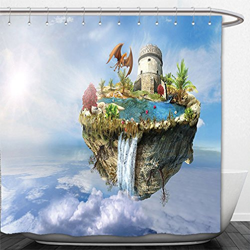 Interestlee Shower Curtain Fantasy House Decor Island With Dragon Castle Tower Waterfall And Flipped Mountain Is Flying In Space Green - Tower Macy Water