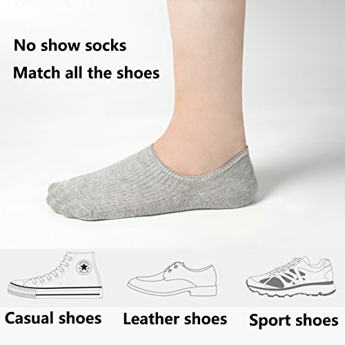 Women's No Show Casual Socks 8 Pairs Low Cut Liner Cotton Ankle Socks Invisible Non Slip by Azue (Image #1)