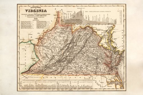 VINTAGE MAP OF VIRGINIA detailed colorful HISTORIC collector's item (Virginia Antique Map)