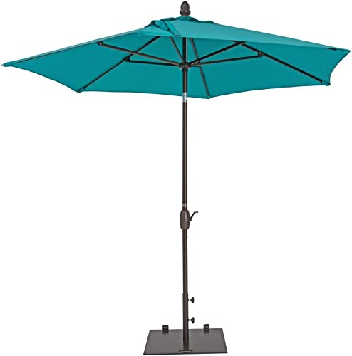 Patio Umbrella - TrueShade Plus Garden Parasol Umbrella with Push Button Tilt and Crank. Includes Storage Cover - Freestanding or Table Hole. - 9 Diameter - Aruba