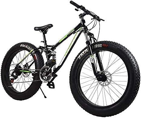 QZ Fat Tire Bicicletas de montaña for Adultos, Playa Moto de Nieve, Bicicletas de Doble Freno de Disco Crucero, Bicicleta de montaña for Hombre 26 Pulgadas Ruedas (Color : Black): Amazon.es: Deportes