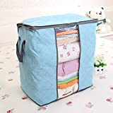 House of Quirk Foldable Charcoal Fabric Closet Organizer Storage Box, Blue
