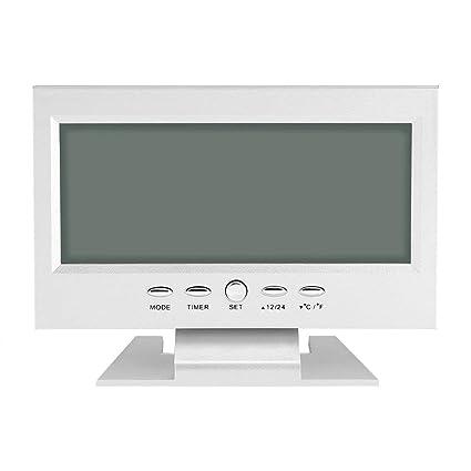 Yosoo Multifunción Control de sonido Gran pantalla LCD digital reloj mesa escritorio tiempo de reloj despertador