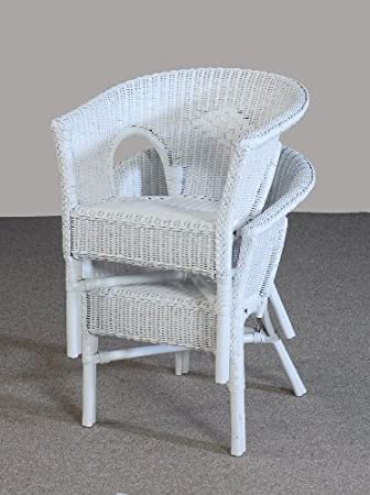 Stuhl Weiß Sessel Weiß Zweier Set Aus Rattan Amazonde Küche