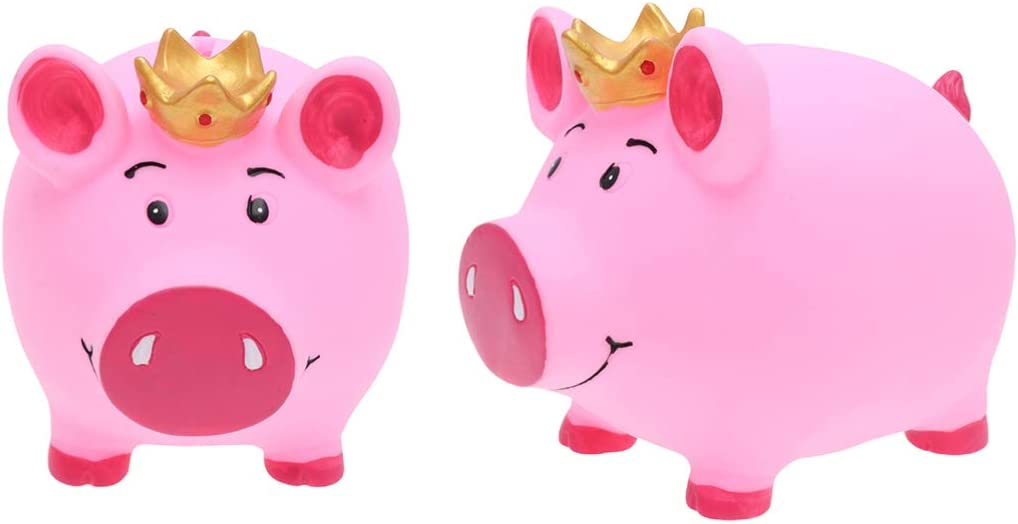 VORCOOL Crown Piggy Bank Coin Bank Crafts Currency Saving Bank Children Money Box Gifts Home Decor(Crown Pig,Small)