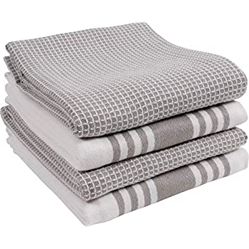 KAF Home Kitchen Towels, Set of 4 Absorbent, Durable and Soft Towels | Perfect for Kitchen Messes and Drying Dishes, 18 x 28 - Inches, Drizzle