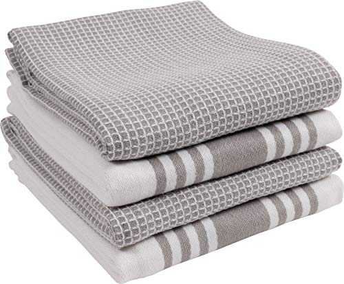 (KAF Home KT-MADWF-DZ-S4 Centerband and Waffle Flat Absorbent, Durable, Soft, and Beautiful Towels | Perfect for Kitchen Messes and Drying Dishes, 18 x 28 - Inches Drizzle)