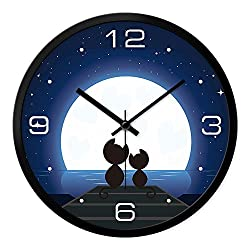 LauderHome 12-Inch Non-Ticking Silent Wall Clock with Modern and Nice Design for Living Room Large Kitchen Wall Clock Battery Operated (Moon &Cat)