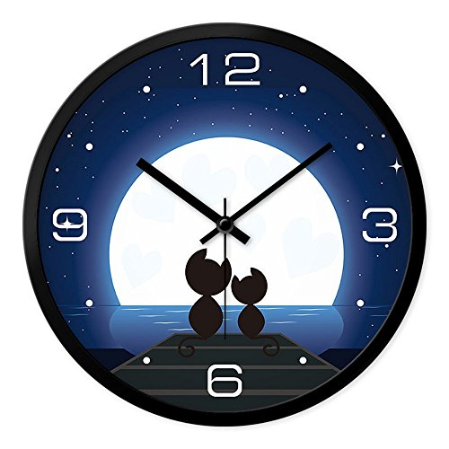 Clock Metal Wall Cat (LauderHome 12-Inch Non-Ticking Silent Wall Clock with Modern and Nice Design for Living Room Large Kitchen Wall Clock Battery Operated (Moon &Cat))