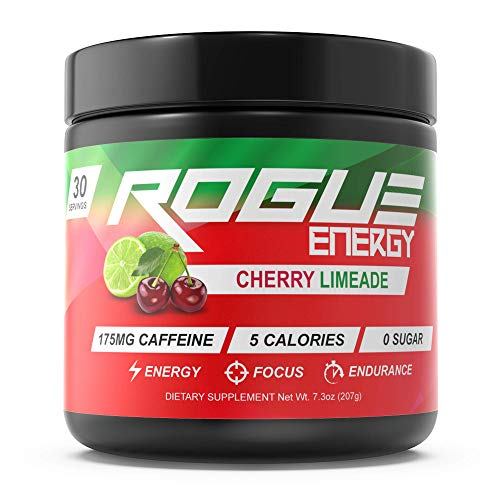 Rogue Energy – Gaming Drink, Gamer Supplement, Mental Energy & Focus Beverage, Nootropics, Gluten-Free, Keto, Esports Performance, (Cherry Limeade Tub 30 Servings)