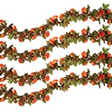Pauwer 6PCS (44.3FT) Artificial Rose Vine Silk Flower Garland Hanging Fake Roses Flowers Plants for Home Garden Office Hotel Wedding Party Decor, Coral