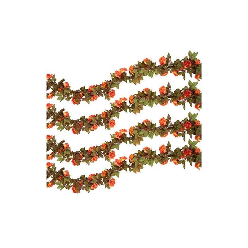 silk flower arrangements pauwer 6pcs(44.3ft) artificial rose vine silk flower garland hanging fake roses flowers plants for home garden office hotel wedding party decor, coral