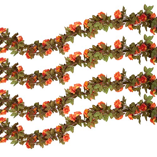 Pauwer 6PCS(44.3FT) Artificial Rose Vine Silk Flower Garland Hanging Fake Roses Flowers Plants for Home Garden Office Hotel Wedding Party Decor, Coral ()