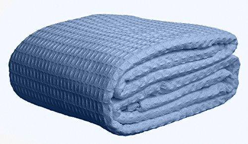 Deluxe 100% Soft Cotton Thermal Waffle Weave Blanket - FULL Size - BLUE (For Couches Wrap Around Sale)