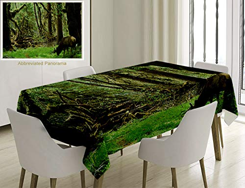 Unique Custom Cotton and Linen Blend Tablecloth Rainforest Decorations Roosevelt Elk in Rainforest Wildlife National Park Washington Antlers Theme GreTablecovers for Rectangle Tables, 78 x 54 inches]()