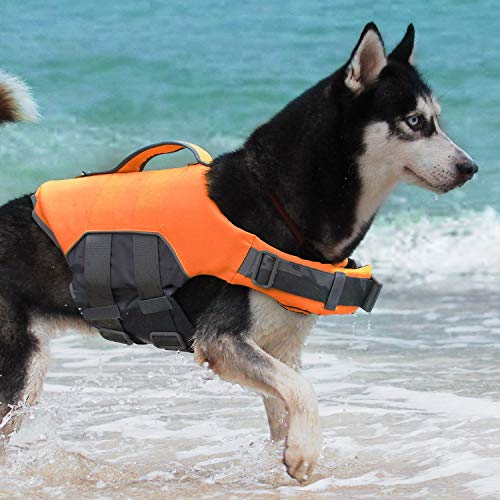 ThinkPet Dog Life Jacket, Reflective Lifesaver with Rescue Handle,Quick Release Adjustable Floating Vest,High Buoyancy Aid Dog Saver X-Large Orange