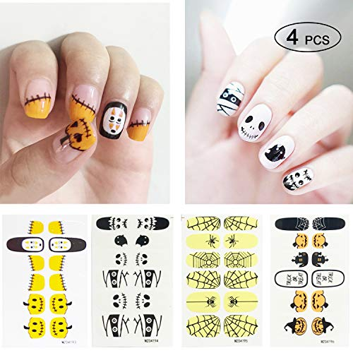 Halloween Nail Decals, Nail Art Stickers, Holiday Nail Wrap Stickers Great Variety, 4 pack nail art decals stickers, halloween decoration stickers -