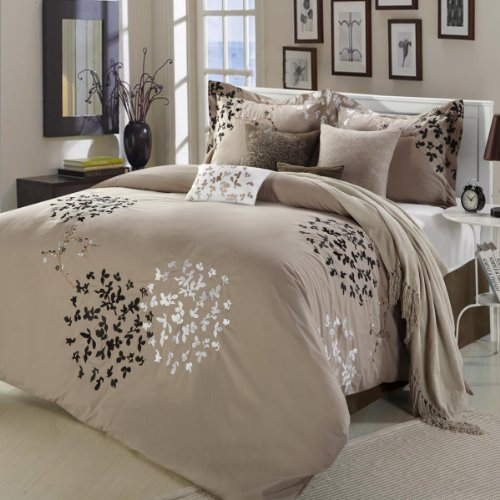 Cheila Beige, Silver, Brown 8 Piece King Comforter Bed In A Bag Set ()