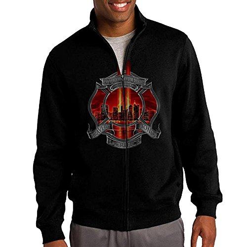 HEHE Men's Zip-up Jacket Hooded Sweater Red Tribute High Honor Firefighter Size XXL Black