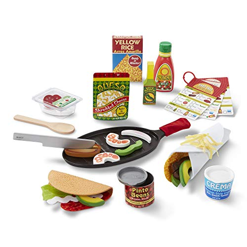 Melissa & Doug Fill & Fold Taco & Tortilla Set, Sliceable Wooden Mexican Play Food (43 Pieces), 12.5