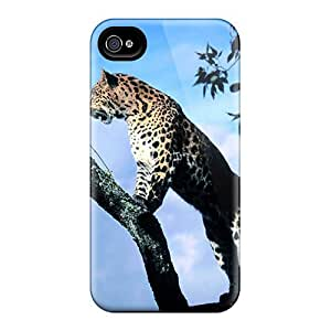 Tpu Cynthaskey Shockproof Scratcheproof Leopard In A Tree Hard Case Cover For Iphone 4/4s