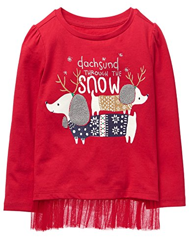 Gymboree Toddler Girls Ruffle Bottom Long Sleeve Graphic Tee  Red Dodgeball  5T