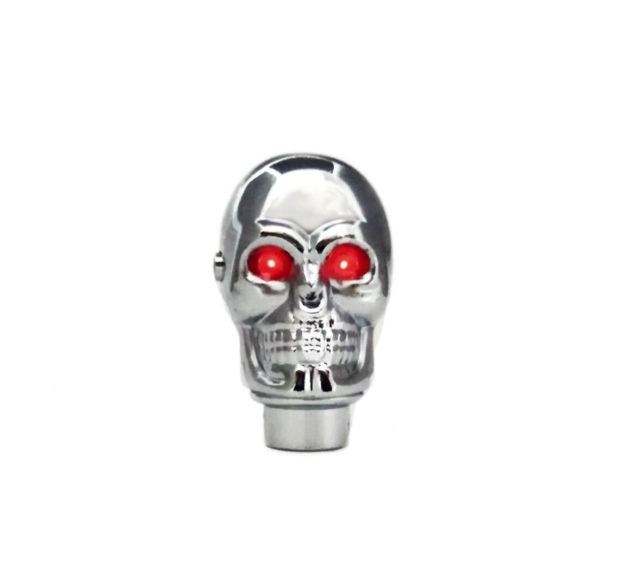 LED Light Red Eyes TESWNE Silver Chrome Skull Gear Shift Knob Manual Stick Shift Knobs