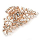 Large Bridal/ Prom/ Wedding Crystal, Faux Pearl Floral Hair Claw In Gold Plating - 90mm Across