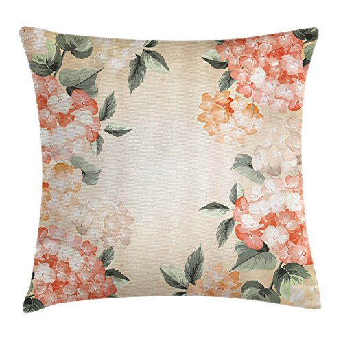 Floral Throw Pillow Cushion Cover by Ambesonne, Blooming Hydrangea Flowers Leaves Bouquet Vintage Style Spring Nature Print, Decorative Square Accent Pillow Case, 16 X 16 Inches, Salmon Reseda Green