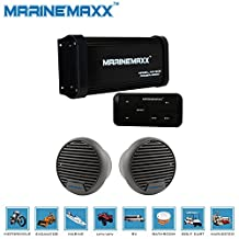 """MarineMaxx 500 Watts 4-Channel Boat ATV UTV Marine Bluetooth Amplifier Marine Stereo AUX In RCA Out+2 pieces of 3"""" Waterproof Marine Speakers"""